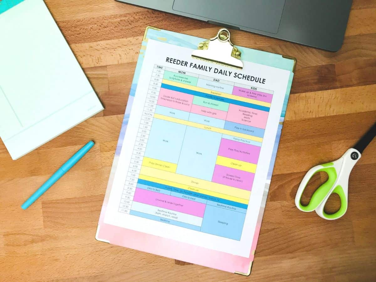personalize your family's at-home daily schedule template