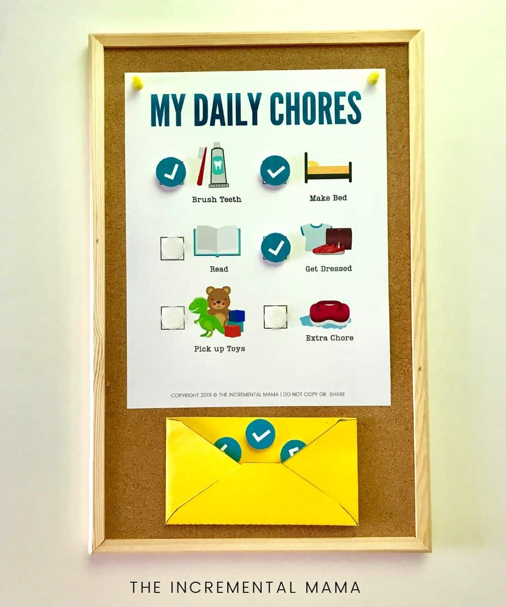 Preschool chore chart for toddlers