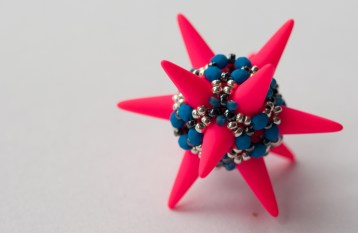 Great Ball of Spikes - Turquoise, Silver & Neon Pink - Sarah Cryer Beadwork