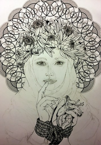 JMSpringman_Nine Muses 1_Ink Drawing_22x30_WIP