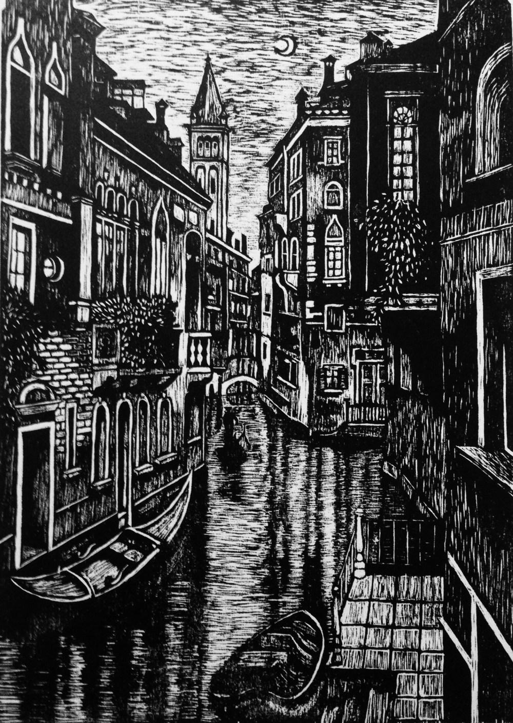 Venice at Night Woodcut Print