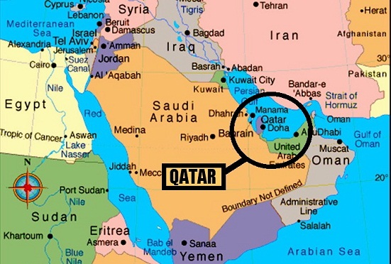 Qatar On A Map on