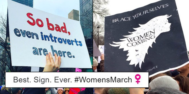 hilarious & creative signs from women's marches across the world