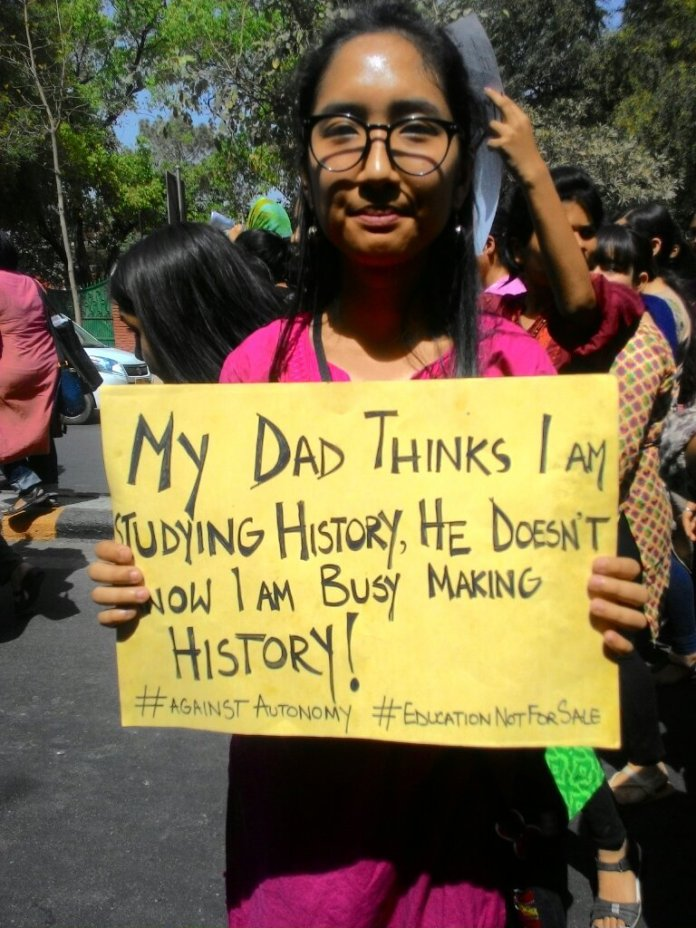 March for education delhi slogans and signs