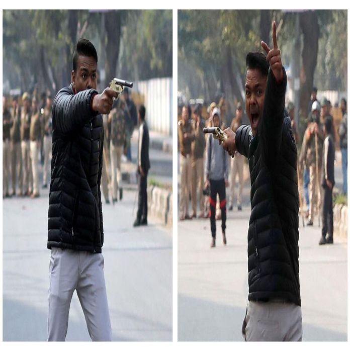 Man firing gun at Jamia