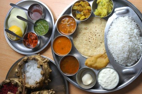 indian food thali with a lot of elements