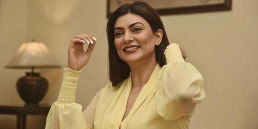 sushmita sen smiling and looks happy in this scene from the trailer