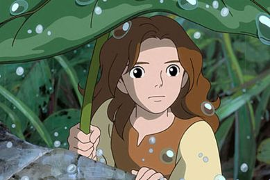 in photo characters from the anime movie the secret world of arrietty holding a big leaf as cover from rain