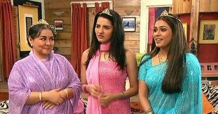 in photo the three female leads from the show shararat wearing crowns