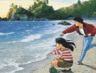 in picture the characters from the anime movie ocean waves, sitting by the ocean side and talking