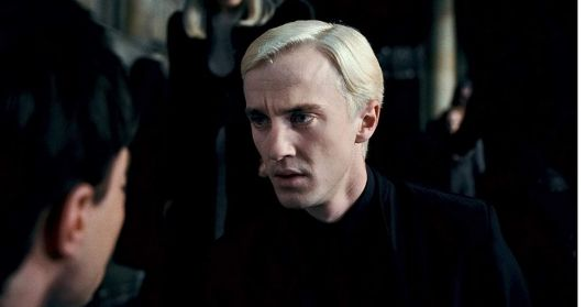 in photo draco malfoy character from the movie series of harry potter