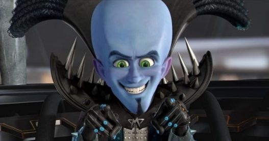 in photo the animated character megamind from the movie megamind