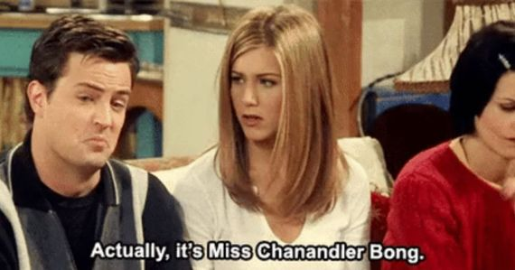 """a still from the tv show frends with chandler saying """"it's actually miss chanandlar bong"""""""