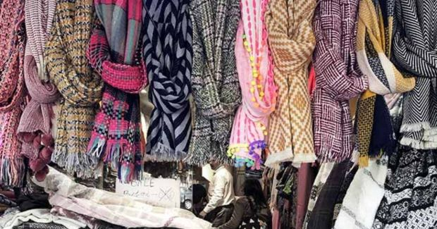 winter clothes on sale in a market