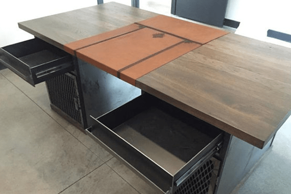 Modern Industrial Desk with Custom Leather Signature Pad