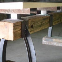 Post & Beam Rustic Industrial Bar Height Table - The ...