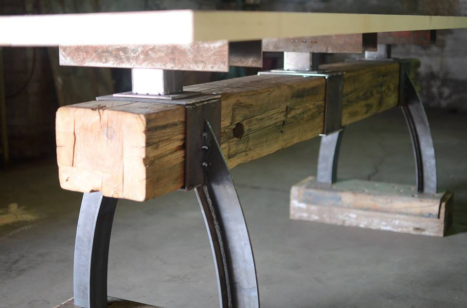 Post  Beam Rustic Industrial Bar Height Table  The