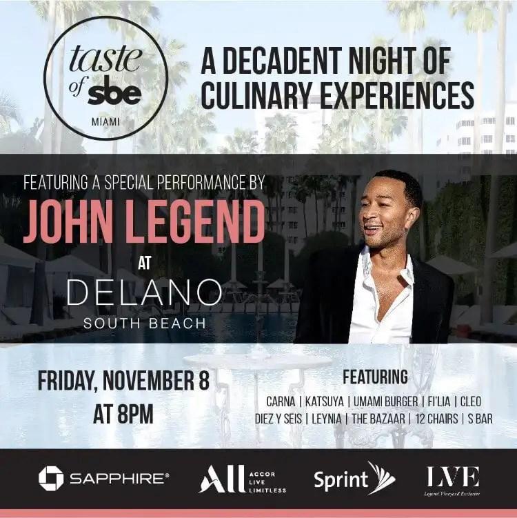 John Legend to Headline at Taste of sbe Miami
