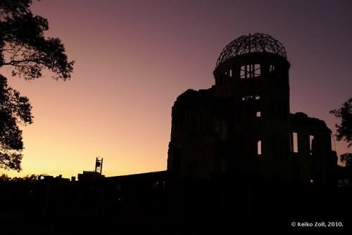 A-Bomb Dome at sunset. Hiroshima, Japan. October 2009.
