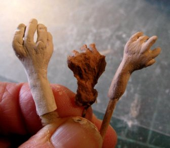 theinfill - Medieval to Jacobean dolls' house blog - 1:12 hands and feet in Creative Paperclay air-drying