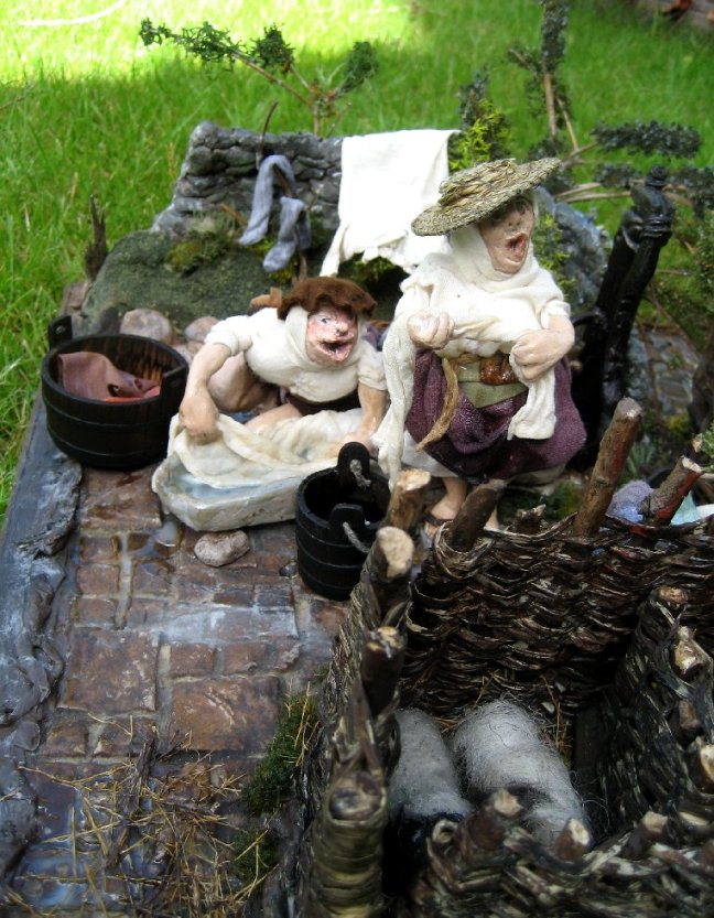theinfill dolls house blog - the infill - Medieval, Tudor, Jacobean 1:12 dolls house - wash day round the village pump