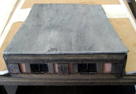 theinfill Medieval, Tudor, Jacobean 1:12 dolls house blog - the infill dolls house blog – cardboard 'lead' for flat roof