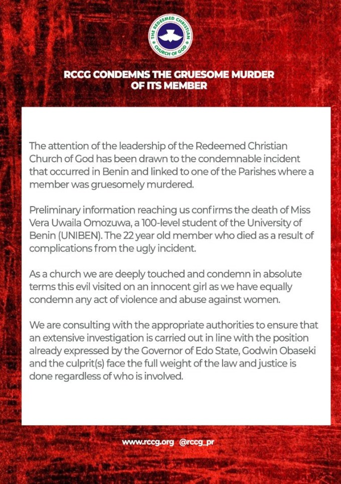 Uwa Omozuwa: Pastor Adeboye reacts to the rape and murder of UNIBEN student in one of the branches of his church 5