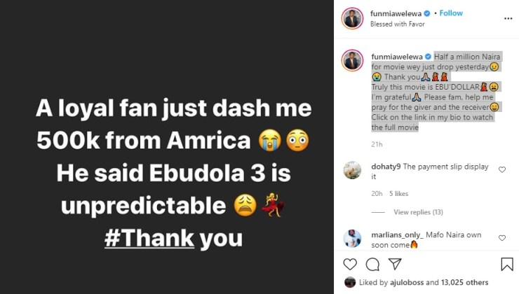 Fan gifts Funmi Awelewa half a million