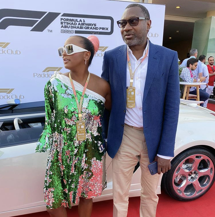 DJ Cuppy spends time with her billionaire father Femi Otedola at Dubai Formula 1 event (Photos)