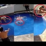 Step-dad caught on CCTV drowning his three year old step-daughter in a swimming pool