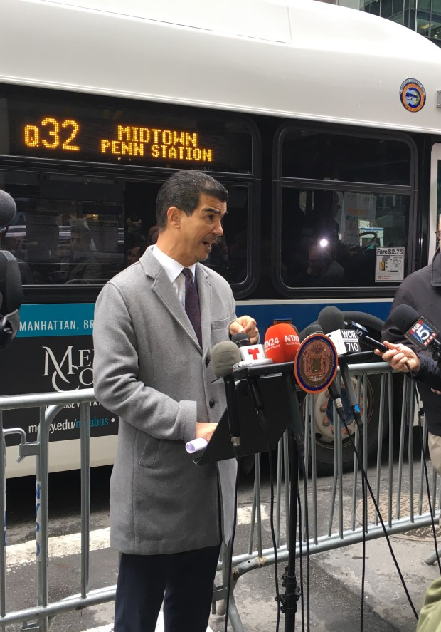 Councilman Ydanis Rodriguez calls for Trump to move his transition headquarters out of Trump Tower at a press conference Monday morning. (The Ink/Tiffany Pennamon)