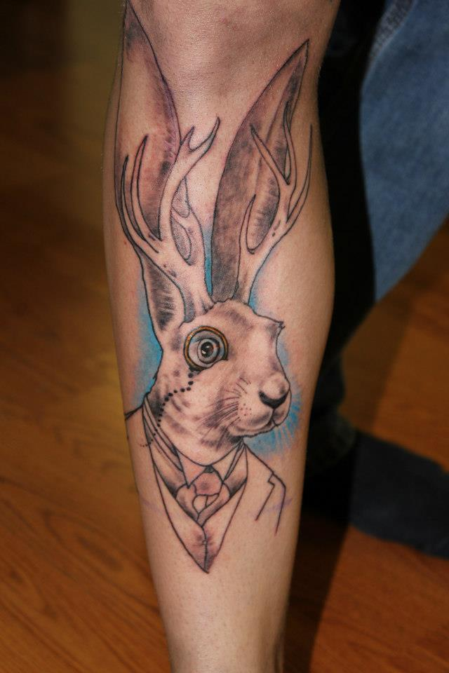 Jackalope Tattoo Meaning : jackalope, tattoo, meaning, Sophisticated, Jackalope, Tattoo-unfinished, Underground, Salem