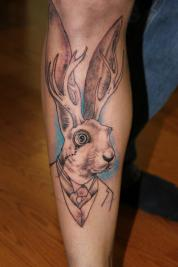 sophisticated jackalope tattoo-unfinished-by Delan