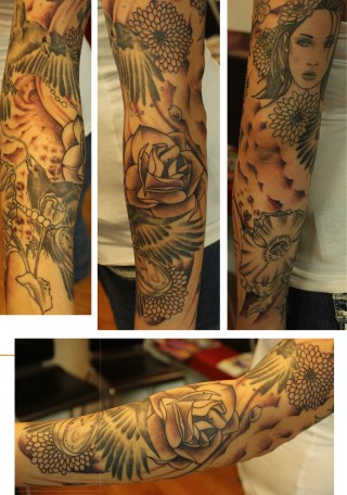 black and grey sleeve
