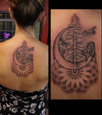 sun, moon, nature tattoo