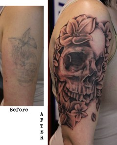 skull and flower cover up