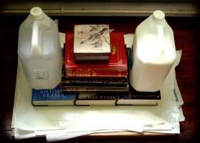 Home made press courtesy of the bookshelf.