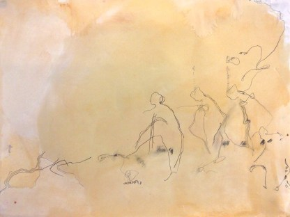(SOLD) Sodom's Salt - graphite and wood stain on vellum paper - 18x24 inches - 2013