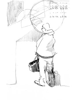 Baggage Claimer - ink and graphite on paper - 8x6 inches - 2013