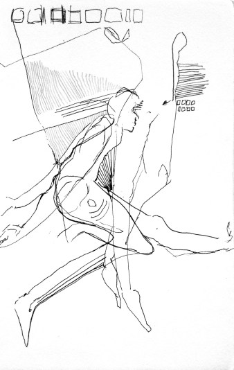 (SOLD) Long Distance Running - ink and graphite on paper - 8x6 inches - 2012