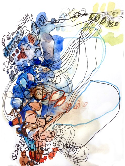 (SOLD) Spilling Out, Drawing Up - ink, watercolor, and coffee on paper - 8x6 inches - 2014