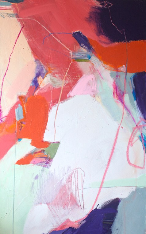 (SOLD) Draw Me Kindly - mixed media on canvas - 48x30 inches - 2014