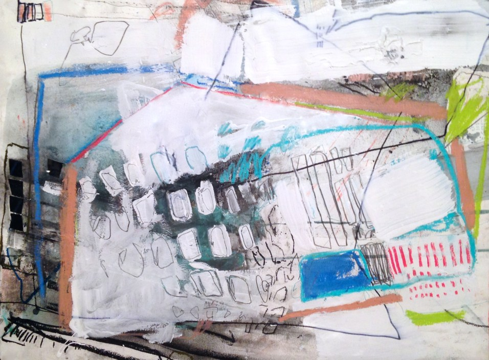 (SOLD) White Washing - mixed media on paper - 18x24 inches - 2014