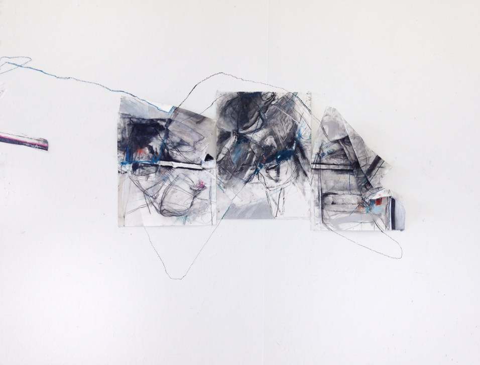 Twine and Trinity (Installation) - charcoal, tape, watercolor crayon, pastel on paper - three 24x18 inch panels - 2014