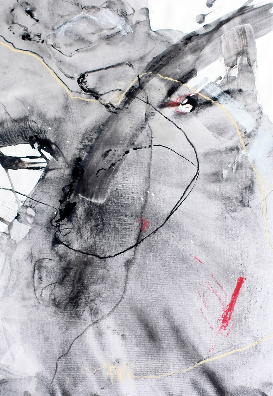 Torn, I - ink, charcoal, and soft pastel on canvas - 34.5x24 inches - 2015
