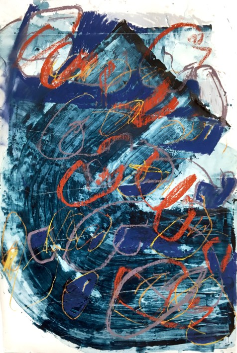 Mark Amass, I - acrylic and pastel on paper - 42x28 inches - 2017