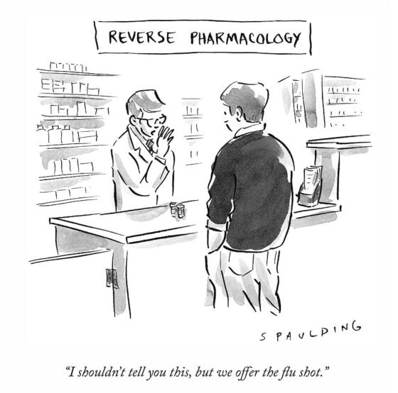 REVERSE PHARMACOLOGYby TREVOR SPAULDING New Yorker Cartoons PSYCHOLOGY DRAWINGS using plain language in writing