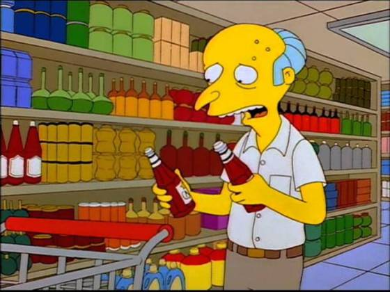 mr burns goes shopping in the supermarket the paradox of choice ketchup catsup