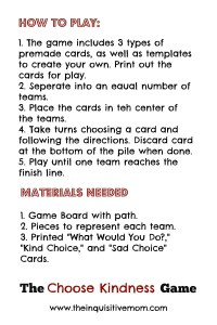 How to Play the Choose Kindness Game