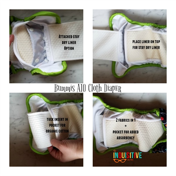 Bummis AIO Cloth Diaper Review from The Inquisitive Mom Sewn in Liner Fabrics